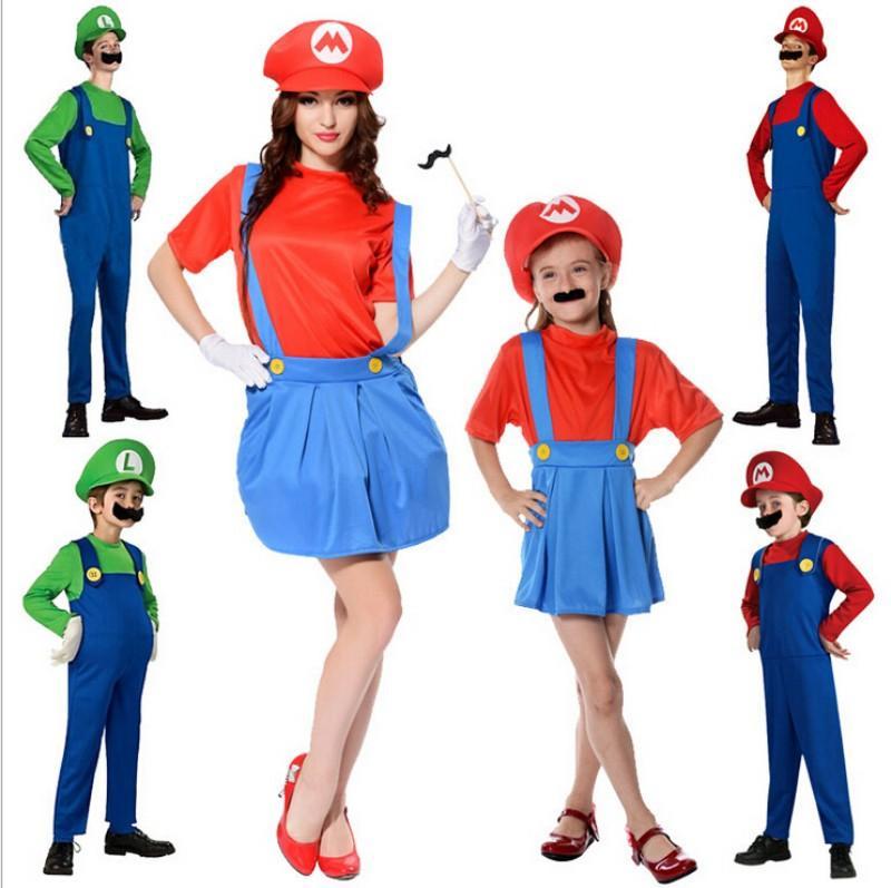 hot kids men women super mario bros cosplay costume set boys girl halloween fancy dress up party mario luigi costume halloween costume for 3 people - Girl Mario And Luigi Halloween Costumes
