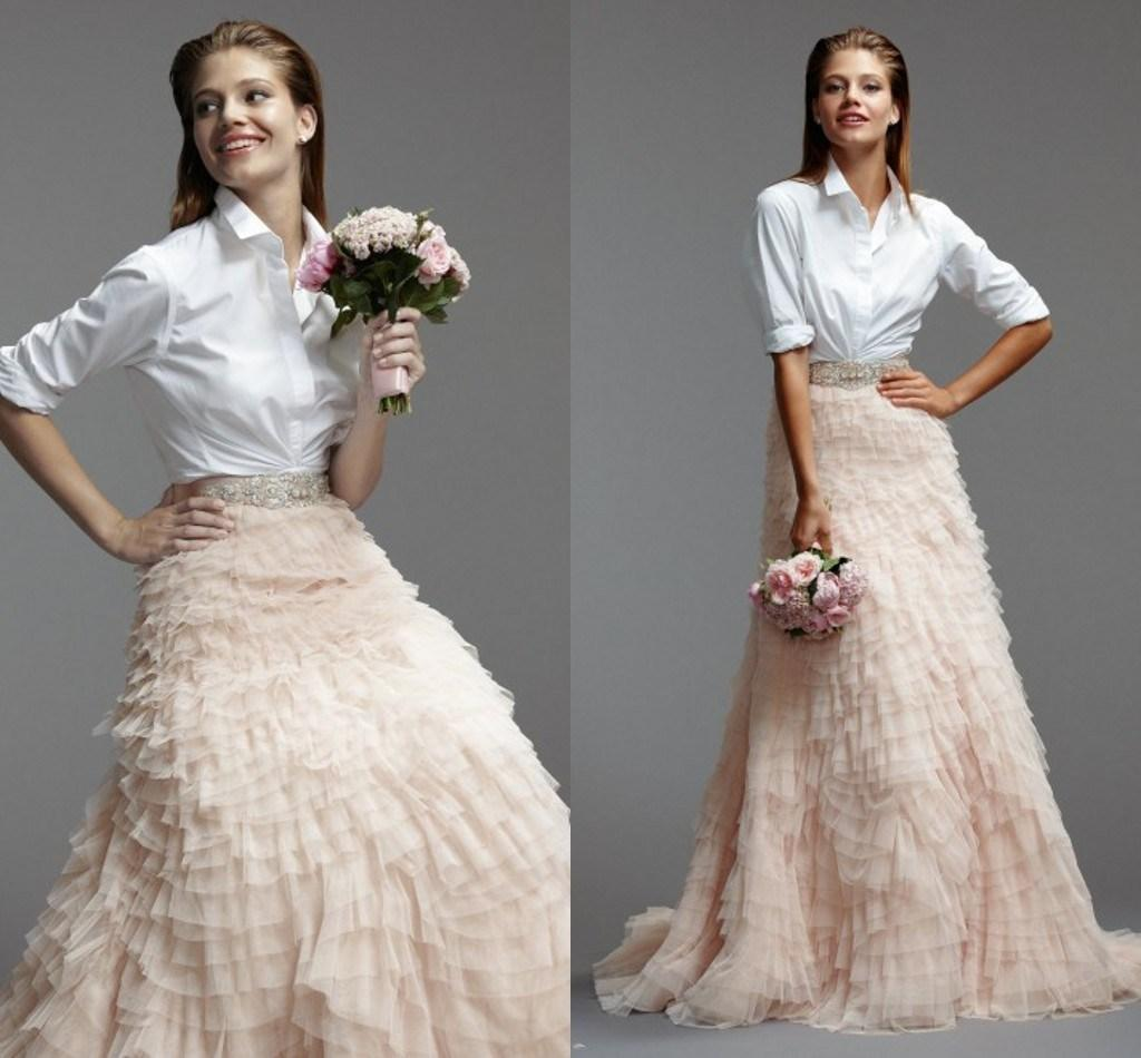 Discount white long sleeves t shirt with champagne tiers trail discount white long sleeves t shirt with champagne tiers trail unique design 2015 spring party wedding dresses formal bridal gowns a line zc second hand ombrellifo Choice Image