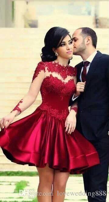 Retro elegante cuello alto puffy borgoña corto mini vestidos de baile vestidos de fiesta apliques Sheer espalda mangas largas satinado cóctel vestidos de fiesta