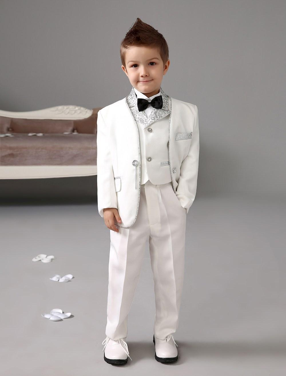 five pieces luxurious white ring bearer suits cool boys