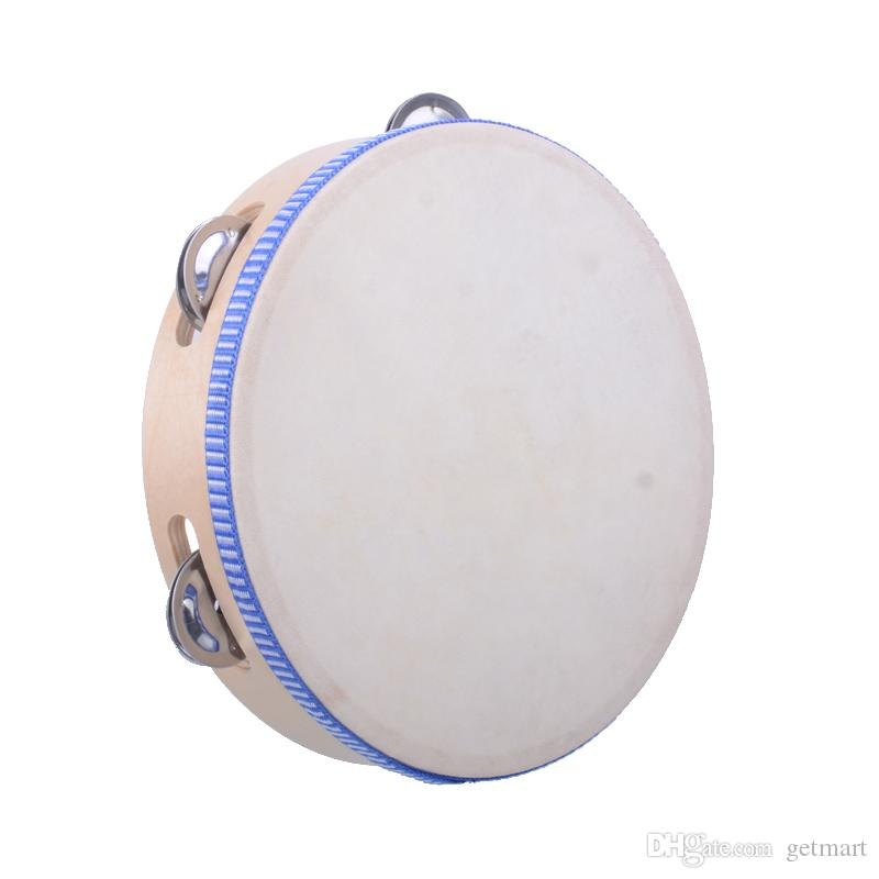 "8"" Hand Held Tambourine Drum Bell Birch Metal Jingles Percussion Musical Educational Toy Instrument for KTV Party Kids Games Good"