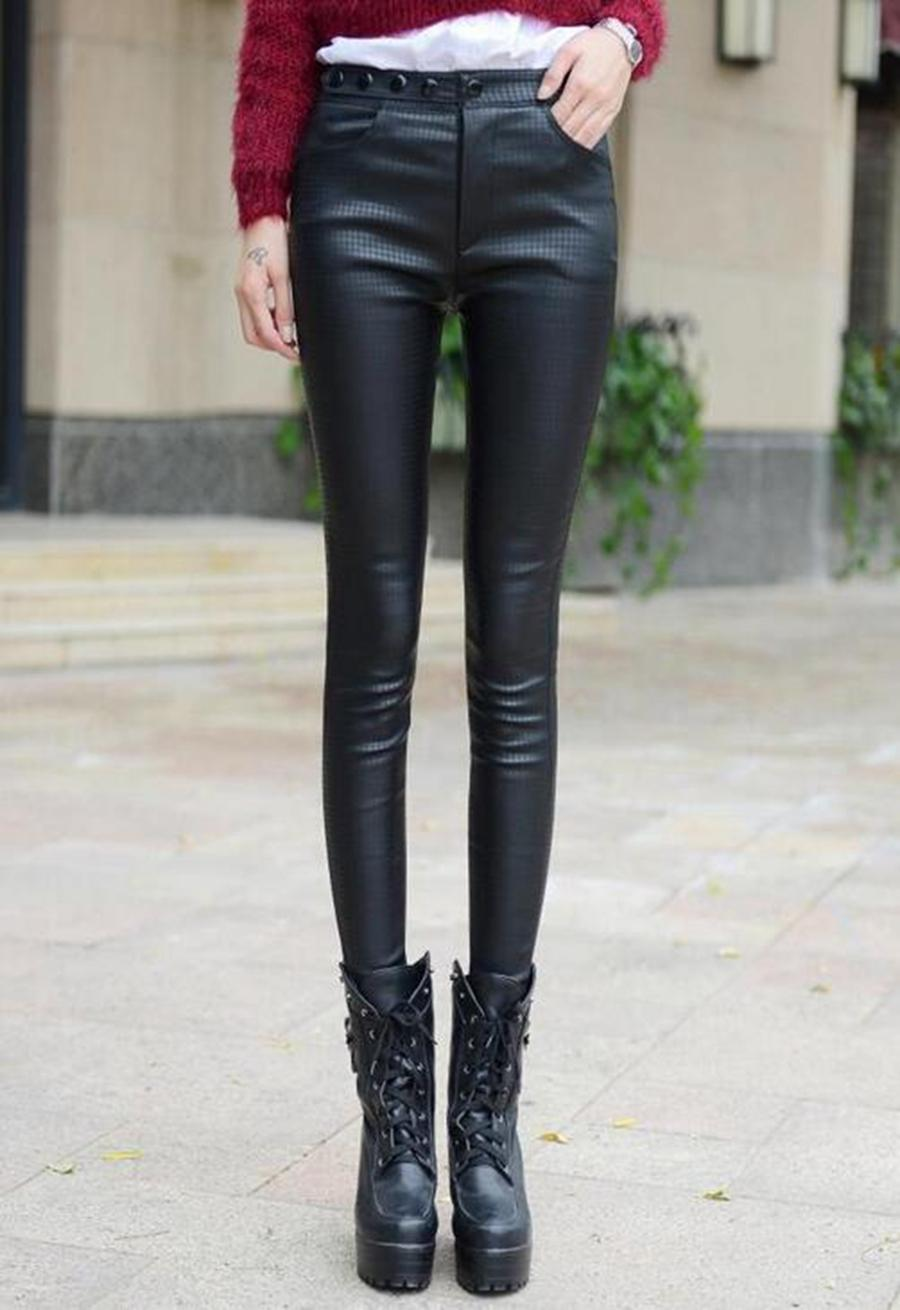 Han edition counters authentic fashion women new winter add wool warm tight tall waist foot pencil leather pants. S - 3xl