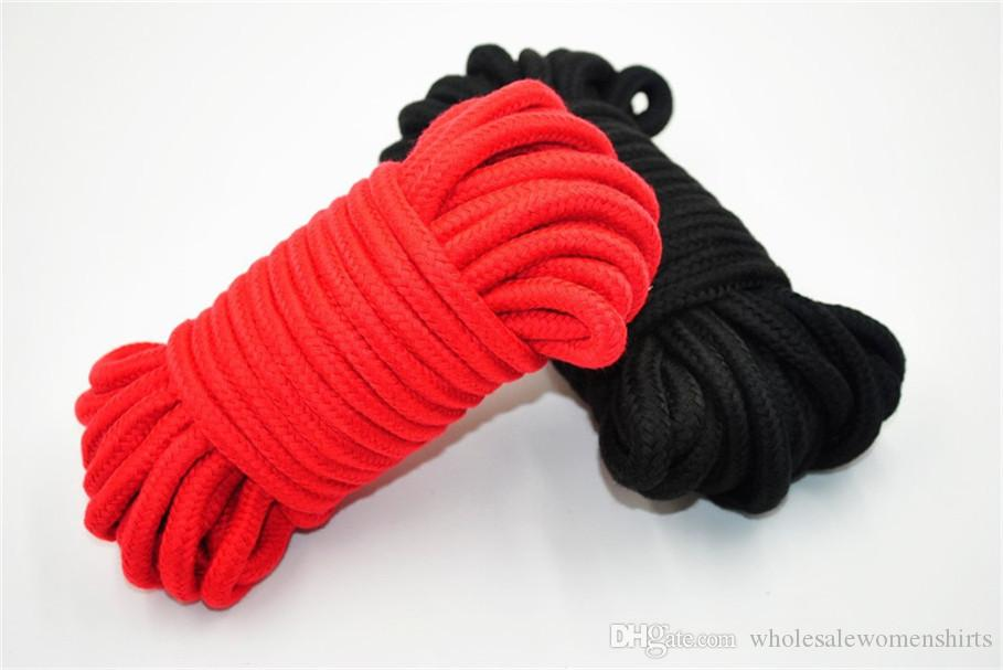 Black & Red 10m long thick cotton fetish sex restraint bondage rope body harness adult flirting game toys for couples on saale