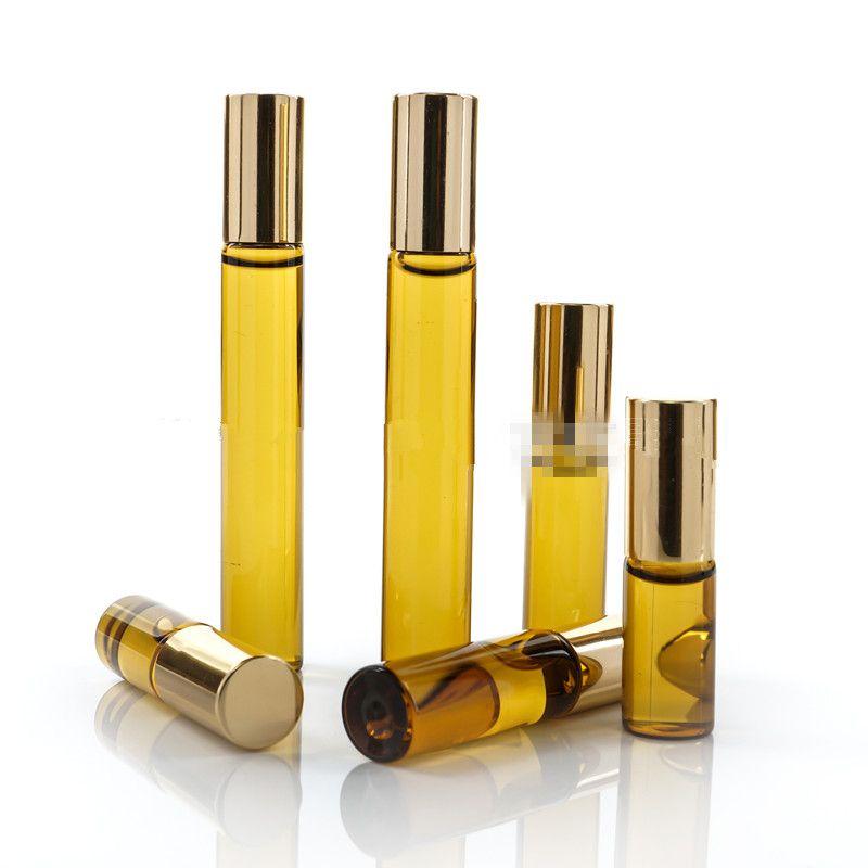 3ML 5ML 10ML البسيطة لفة على الزجاج زجاجة عطر العنبر البني الكثيف زجاجات عطرية زجاجة OIL الصلب المعدنية الرول الكرة B813