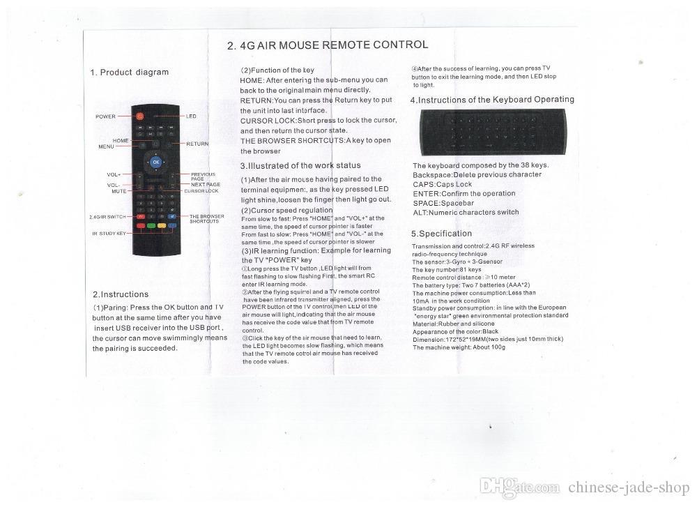 2.4GHz의 무선 키보드 MX3 IR 학습 모드 플라이 에어 마우스 안드로이드 스마트 TV 박스 를위한 원격 제어 /