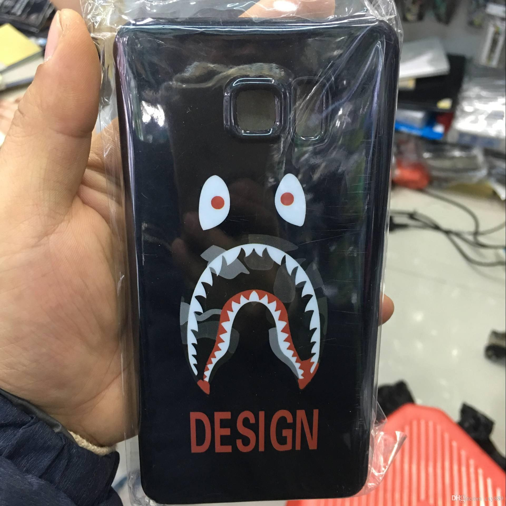 For Sumsung galaxy s6 edge plus A7 A7000 G530 G360 J1 ACE J2 cartoon shark soft TPU case black silicone cases