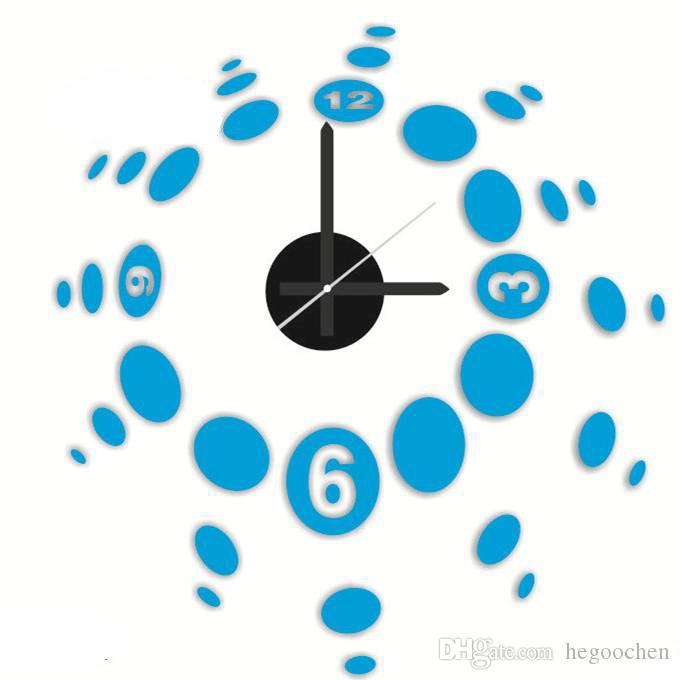 Ücretsiz Kargo 3D büyük beden rakam duvar saati akrilik duvar sticker DIY kısa salon dekorasyon ev toplantı odası duvar saati