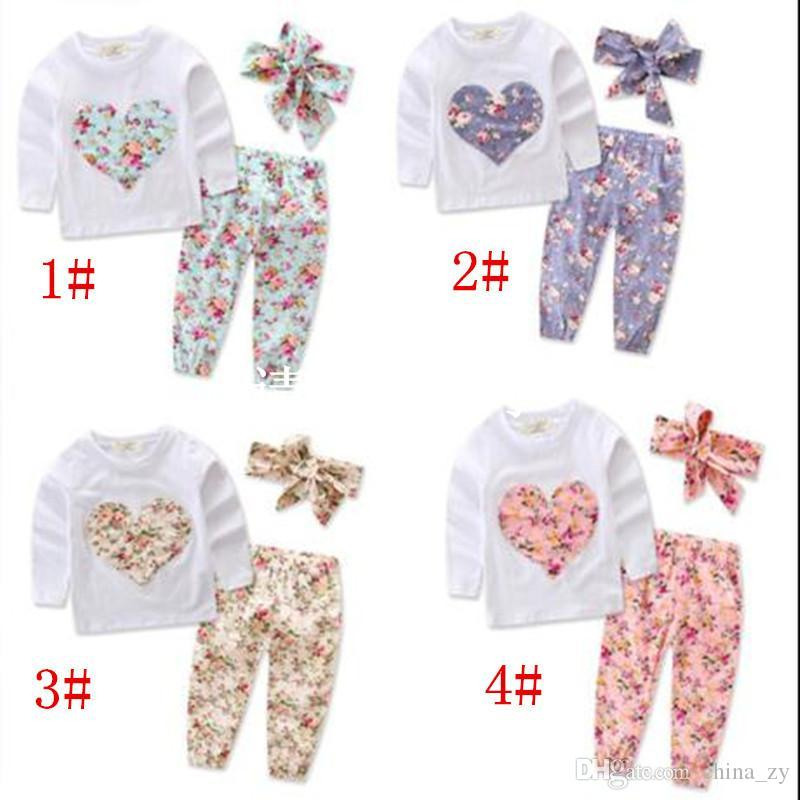bff602eaa 2019 Baby Clothes Girls Ins Floral Outfits Toddler Long Sleeve T Shirt  Pants Headband Suits Infant Heart Shaped Flowers Tops Pants Hairband B2999  From ...