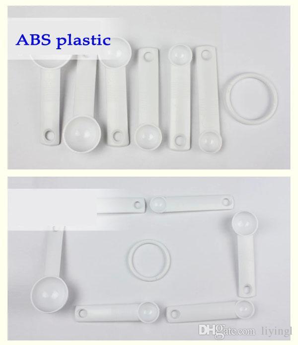 6 piezas de cuchara de medición conjunto de cocina de plástico herramientas de medición cucharada de café cucharada de ensalada spoon1 / 8 1/4 1/2 1tsp 1/2 1 cucharada de cucharada de gadget de la hornada