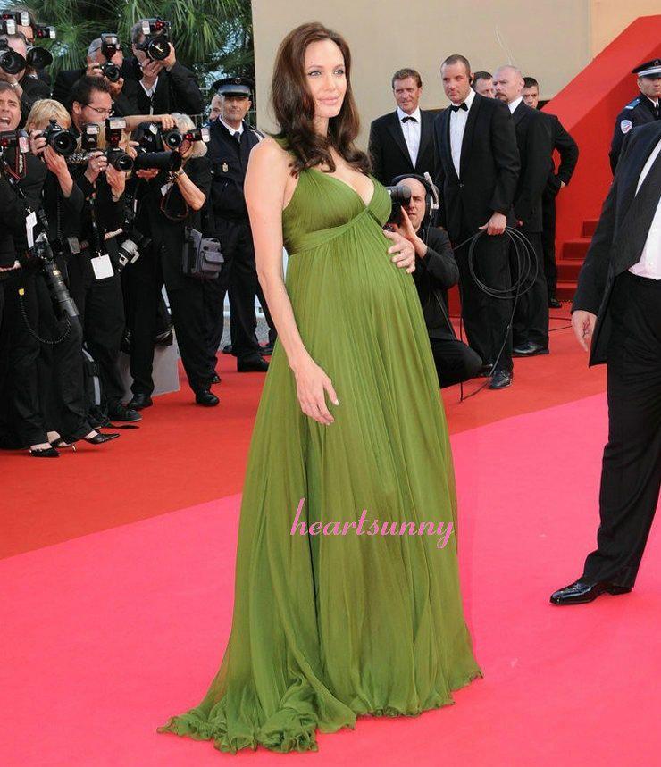 2015 Sexy Angelina Jolie Celebrity Dresses Deep V Neck Green Chiffon ...
