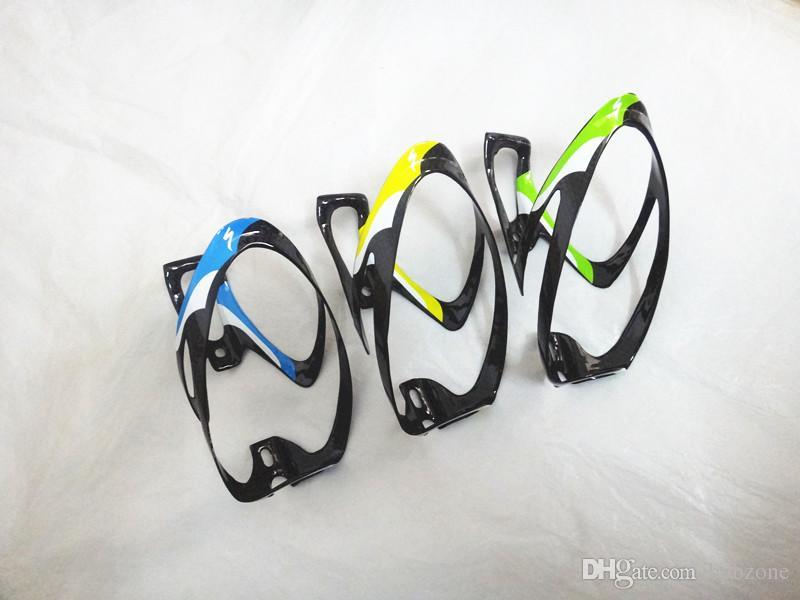 2 stks fiets waterflessen houder koolstofvezel materiaal fiets kooien grote capaciteit waterflessen kooien 3 kleuren