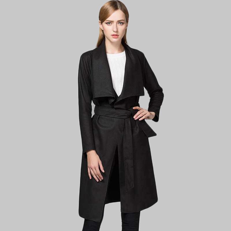 2017 herbst Trenchcoat für Frauen Solide Umlegekragen Langarm Mäntel Frauen Kleidung Casual Lange Weibliche Windbreaker