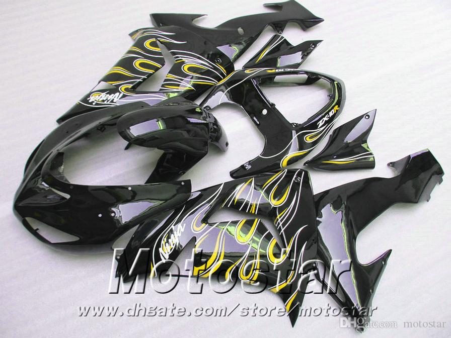 Injection molding ABS fairing kit for Kawasaki ninja fairings ZX10R 2006 2007 06 07 ZX 10R yellow flames in black motobike set JU23
