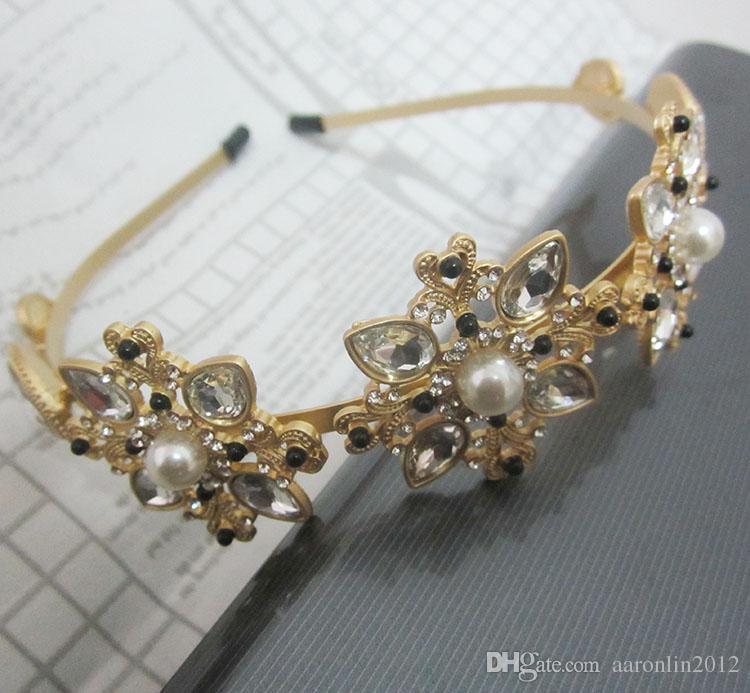 Mode Marke Multi Strass Blume Haarbänder für Frauen Haarschmuck Gold Perle Aussage Stirnbänder Hochzeit Haarschmuck