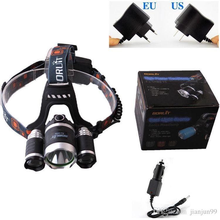 HOT Boruit 5000 Lumens Headlight 3 LED CREE XM-L T6+2R5 Head Lamp High Power LED Headlamp + AC Charger + Car Charger Free Shipping