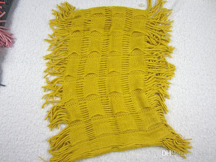 Womens Winter Warm Knitted Layered Fringe Tassel Neck Scialle Circle Sciarpa Snood Cowl Girl Solid Tinta unita Infinity Sciarpe Wraps