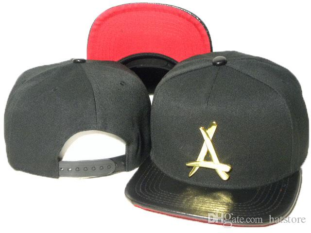 "snap back fashion black Tha Alumni Snapback metal gold ""A"" leather brim adjustable baseball caps bboy hip-hop hats for men and women DDMY"
