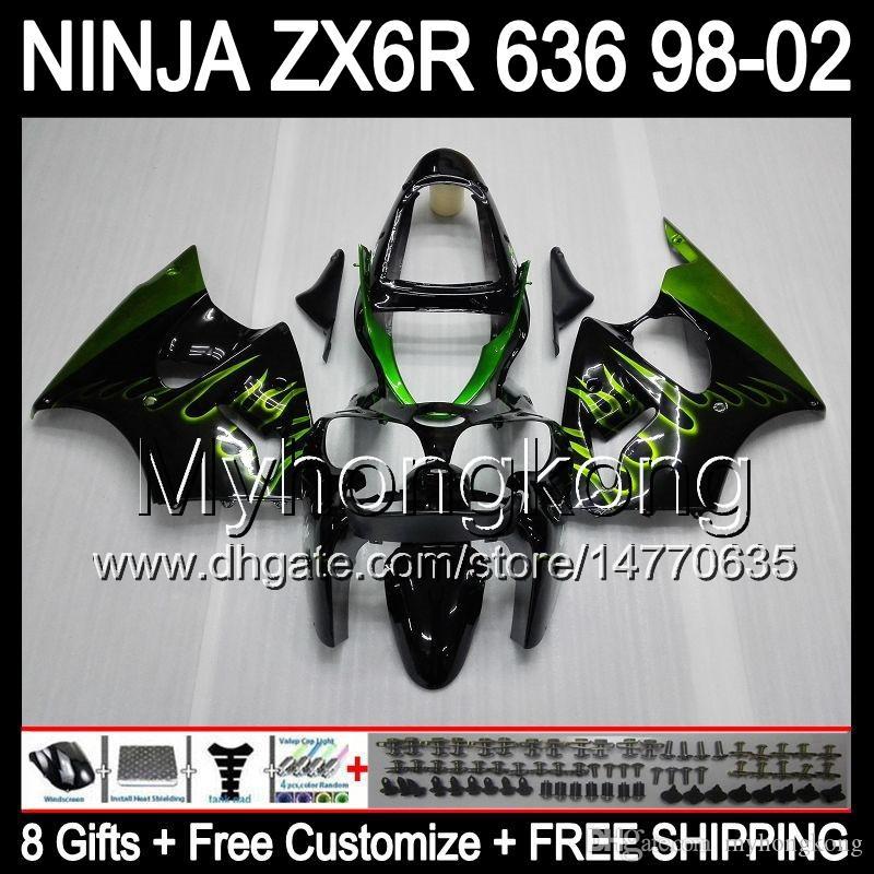 llamas verdes 8Gifts + cuerpo para Kawasaki ZX6R 98-02 ZX636 ZX 636 ZX 6R ZX6R MY40 Negro 98 99 00 01 02 1998 1999 2000 2001 2002 carenado