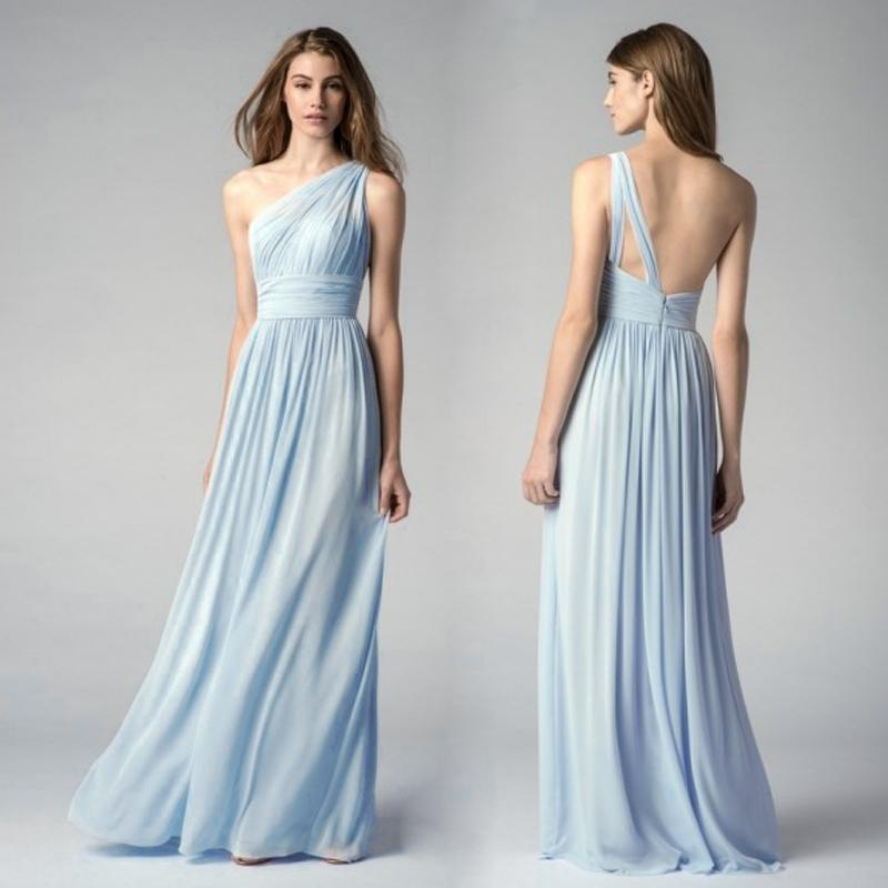 Ice blue bridesmaid dresses one shoulder cheap maid of for Ice blue wedding dress