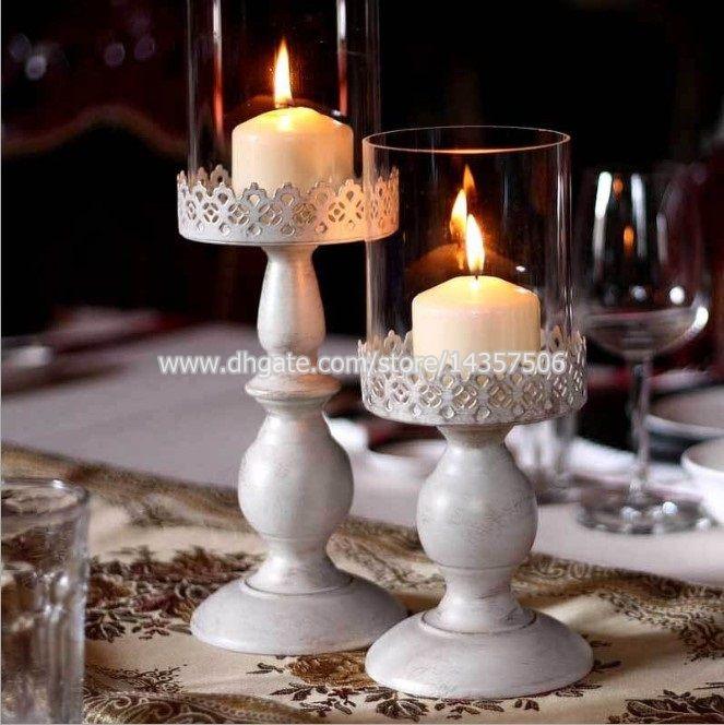 vintage white iron candle holder wedding centerpiece w glass shade rh dhgate com candelabra candle holder wedding centerpieces pillar candle holder wedding centerpieces