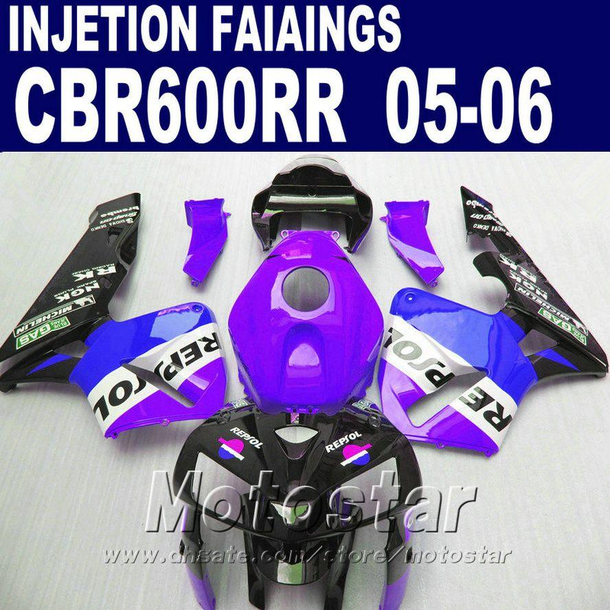 Mor bir! Honda CBR 600 RR için Enjeksiyon Kalıplama 2005 2006 CBR600RR 05 06 CBR 600RR Özel Fairing WH5S