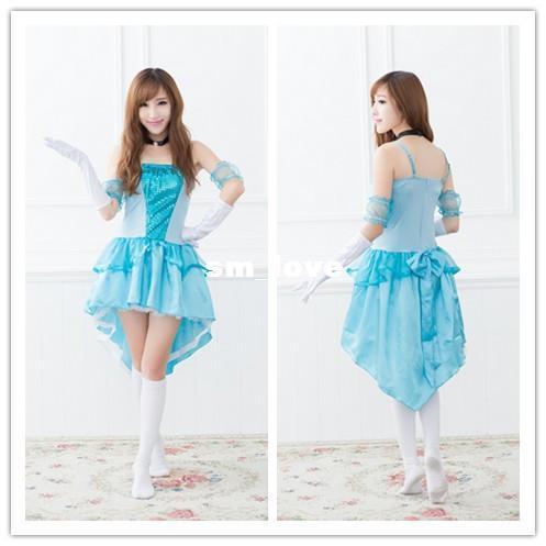 lolita dress bridesmaid dress blue skirt lolita snow white princess cosplay dress costumes nightclub photography j185 scary halloween costumes couple - Blue Halloween Dress