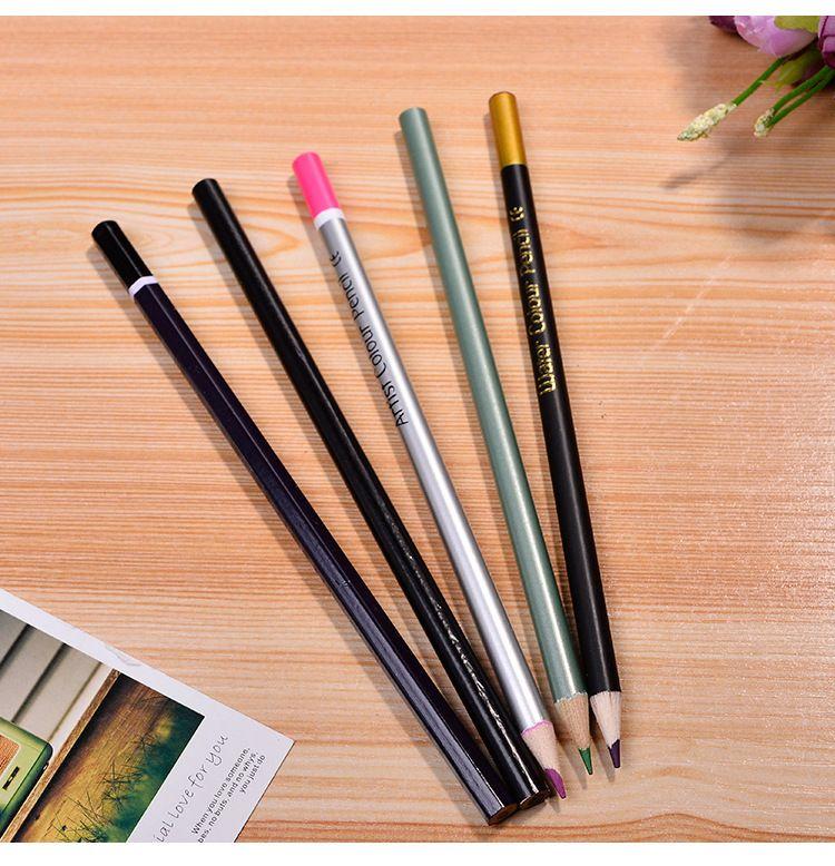전문 목조 컬러 예술가 연필 성인을위한 수채화 금속 숯을 그리기 60 연필 연필 틴 박스의 프리미엄 세트