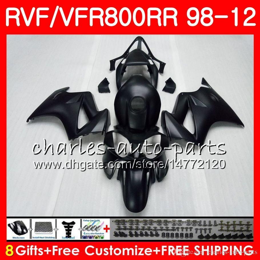 VFR800 pour intercepteur HONDA VFR800RR 98 noir mat 99 00 00 02 02 03 04 12 90HM6 VFR 800 RR 1998 1999 2000 2002 2002 2002 2003 2004 2012 Carénage
