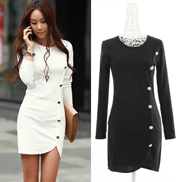 Wholesales Women Cocktail Party Dress Winter Warm Button Long Sleeve ...