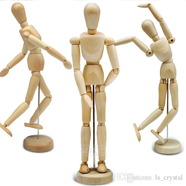 8 بوصة diy مضحك الخشب دمية دمية الطلاء نموذج خشبي الذكور الفنان مانيكين المشتركة عارضة اليد blockhead دمية تعلم اللعب هدية SK365