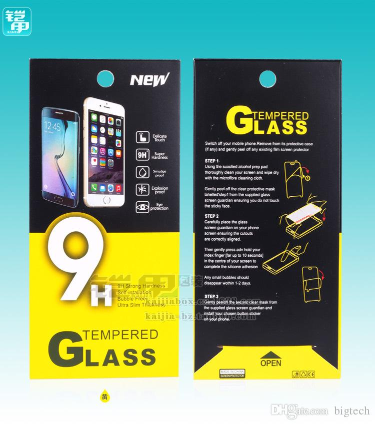 1000pcs 189*88mm Mobile Tempered Glass Screen Protector Retail Packaging New with Hang Hole Paper Package Book Style Box Pack Bags