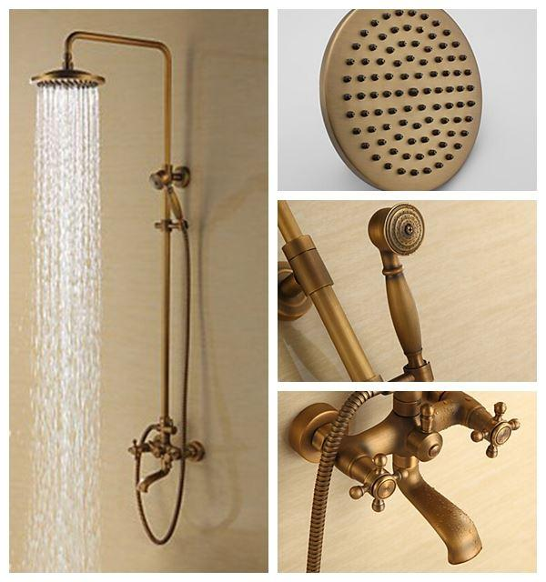 2019 Rain Shower Faucets Antique Brass Tub Shower Faucet With 8 Inch