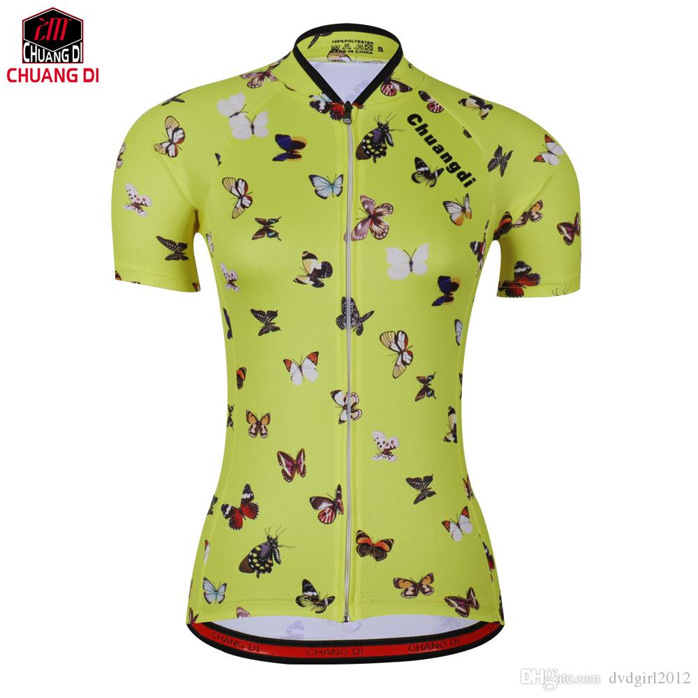 aa045219f New Yellow Beautiful Butterfly Cycling Jersey Women s Elastic ...