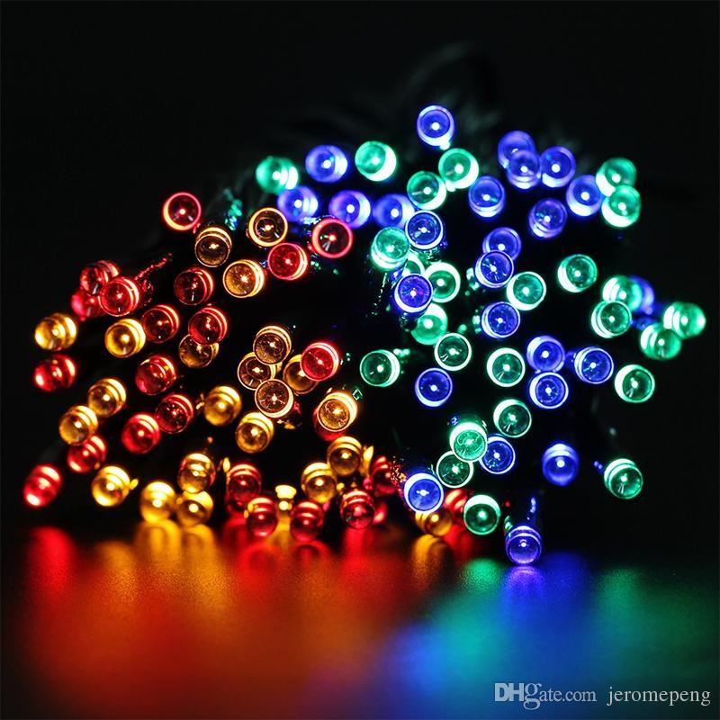 태양 줄무늬 요정 빛 7M 12M 22M LED 문자열 빛 야외 정원 웨딩 홀리데이 장식 크리스마스 라이트