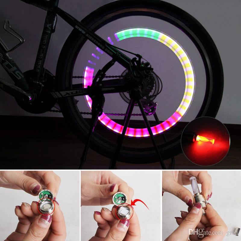 Grid Wholesale LED Flash Tyre Bike Wheel Valve Cap Light Car Bicycle Motorbicycle Wheel Tire Light LED Blue Green Red Yellow Light Colorful
