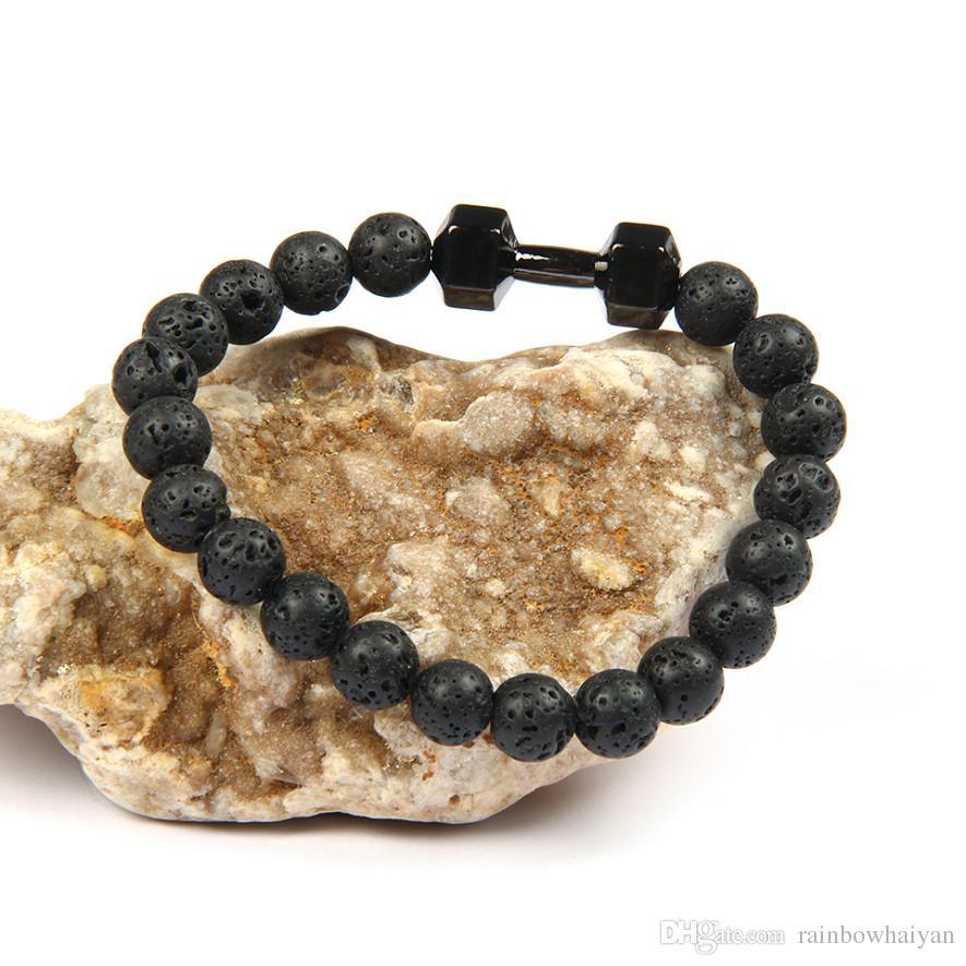 Mens presente Atacado New Arrival liga metálica Lava Rock Stone Beads da forma da aptidão Dumbbell pulseiras com Palavras