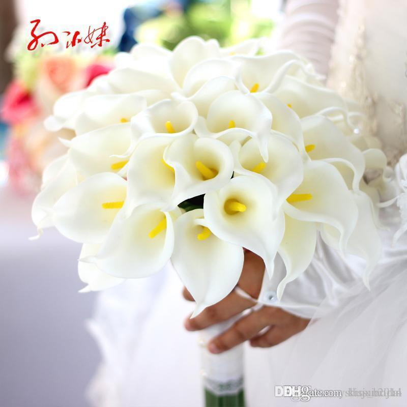 fake calla lily wedding bouquets white calla wedding bouquet bridal bridesmaid flower 3976