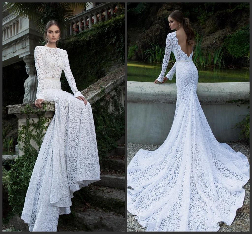 2016 Simple Mermaid Jewel Full Lace Wedding Dresses Sash Backless ...