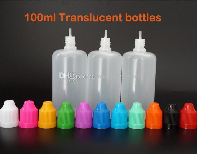 O envio gratuito de 100 ml Vazio De Plástico frasco conta-gotas PEBD Agulha Garrafas Fácil de Apertar com Segurança À Prova de Crianças Caps e Longas Finas dicas