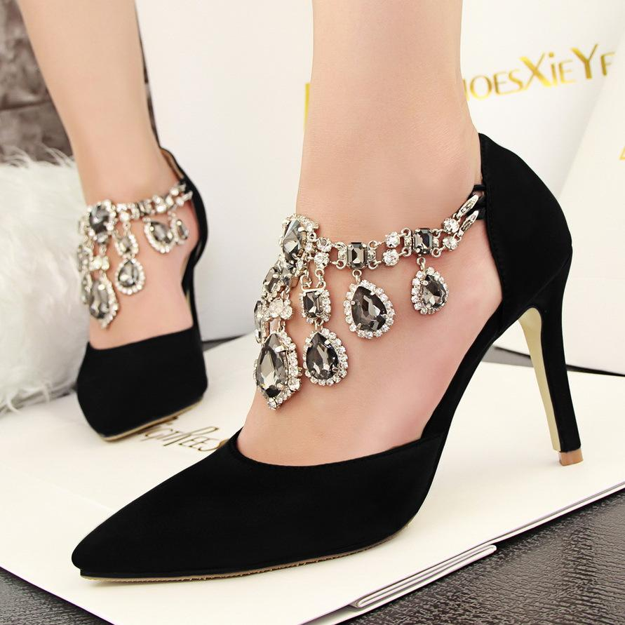 Women Pointed Toe Shoes High-heeled Sandals with Buckle