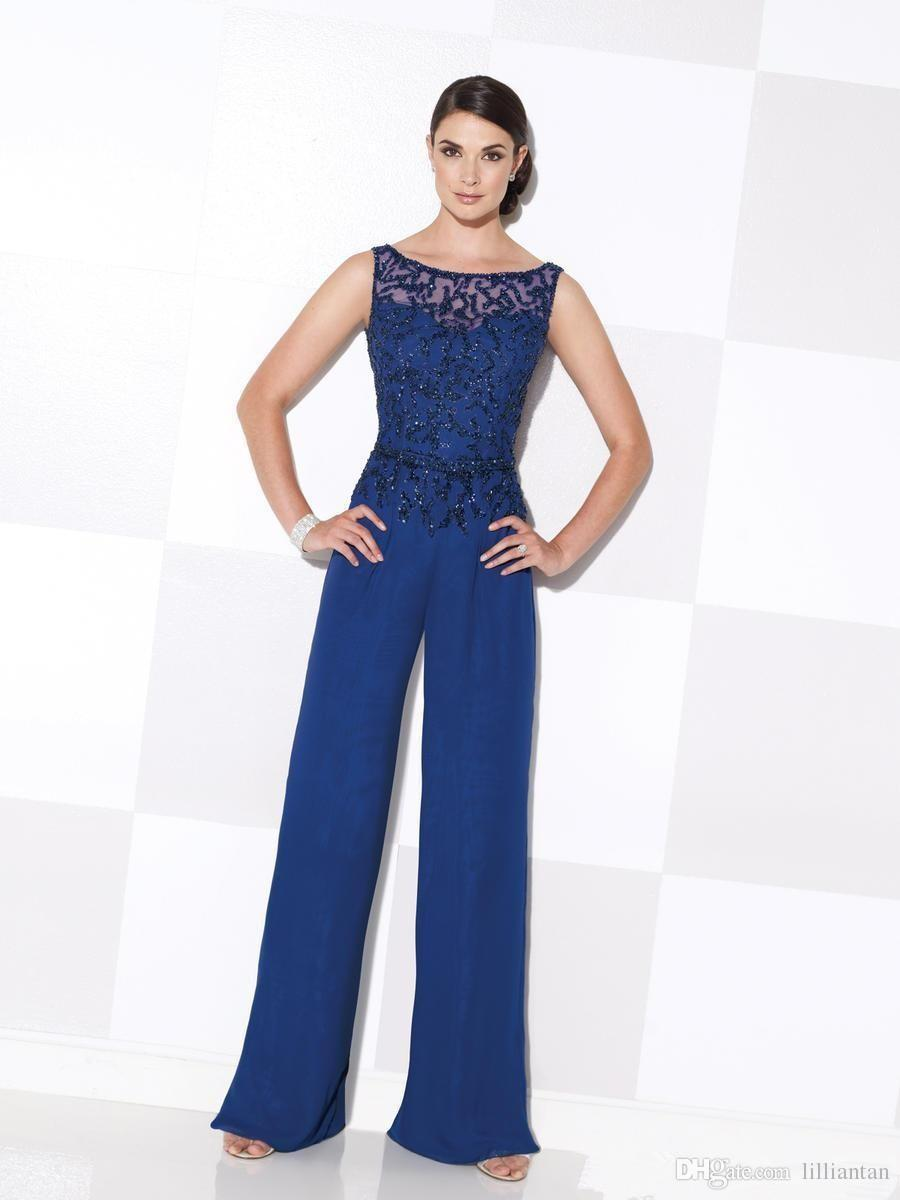 Lace Royal Blue Mom's Pant Suits Pajamas Scoop Neck Lady Women Prom Suits with Long Jacket Lady Evening Dresses d118
