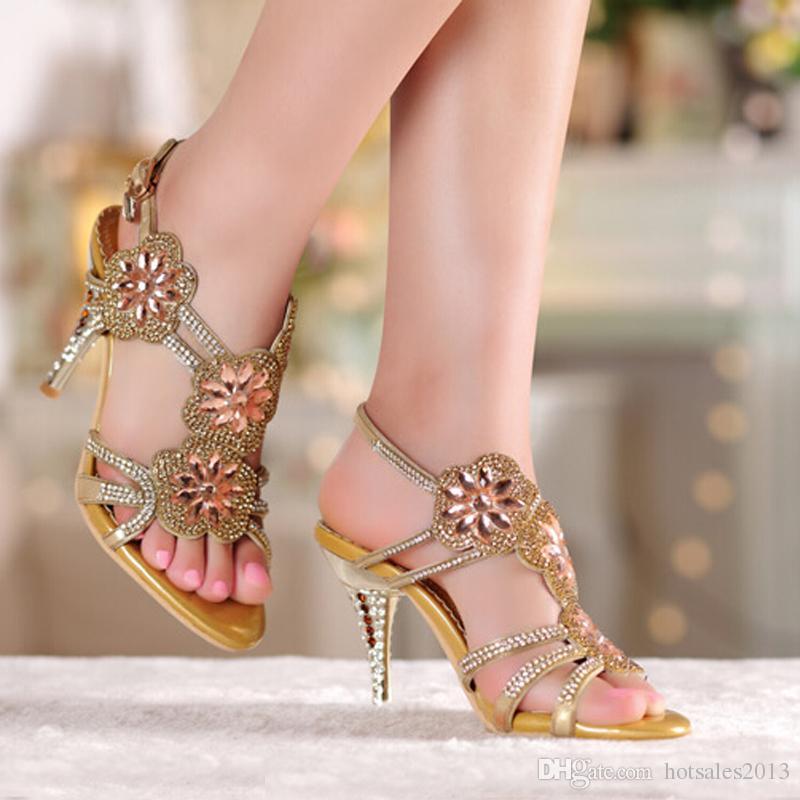 Натуральная Кожа Леди Высокий Каблук Сандалии Лето Sexy Rhienstone Dress Shoes Фиолетовый Кристалл Свадебные Туфли На Шпильке