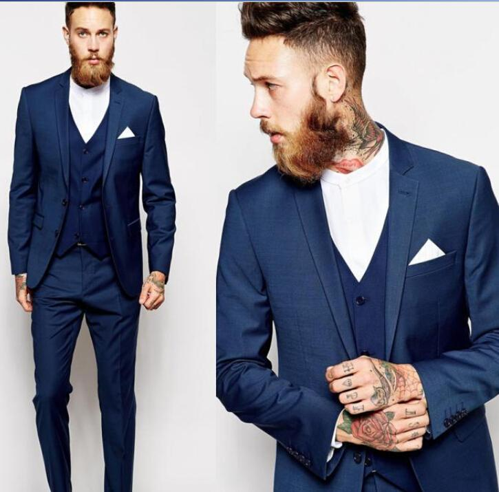 Custom Made 2016 New Royal Blue Silver Groom Tuxedos Slim Fit Mens ...