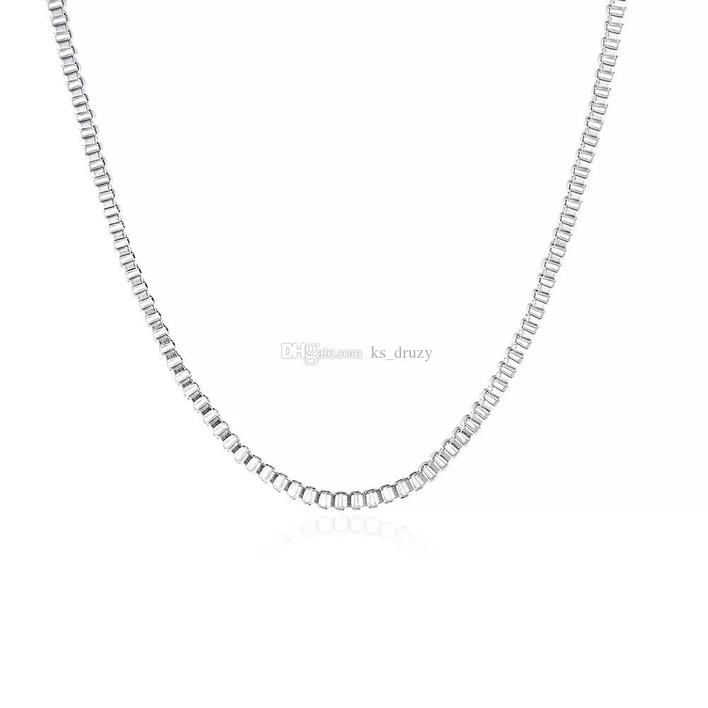 925 Sterling Silver 2mm Box Chain Necklace 16inch-24inch Fit All Pendant Necklace 16-24inch Mix Size