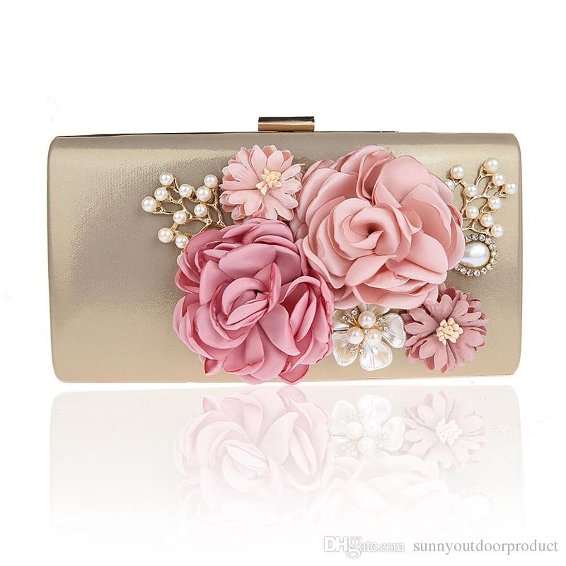 15a3c82a38 Luxury Fashion Women Crystal Diamond Pearl Flower Evening Clutch Bag Lady  Shoulder Bags With Chain Bridal Handbag Wristlet For Wedding Party Crystal  Diamond ...
