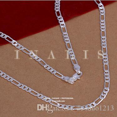 figaro chain jewelry cheap price fashion 925 Silver man men Necklace 28 Inch 4 mm Sideways necklace hot sale body necklace