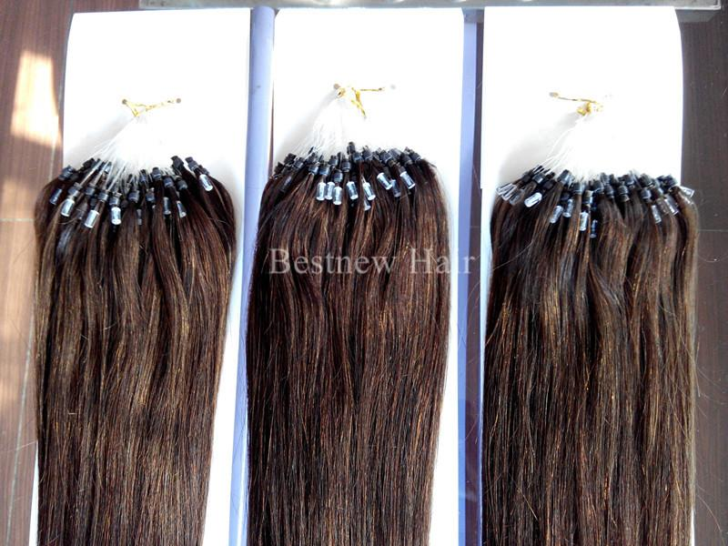 LUMMY INDIAN REMY Human Micro Ring Hair Loop Hair Extensions 1G/S 100g 18inch-26inch #4 Silk Straight