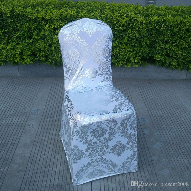 Wedding Chair Cover European Gold Stamp Chair Slipcover Special Gold/Silver Stamp High-End Elastic Wedding Chair Covers