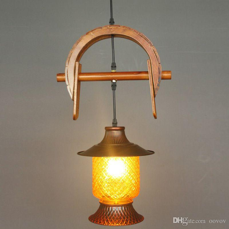 Vintage Pastoral Wooden Bar Pendant Lights American Village Balcony Corridor Pendant Lamps Cafe Shops Pendant Lamp