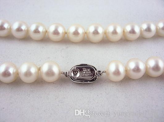 Wholesale beautiful 6-7 mm round white natural pearl necklace HFY- 1615